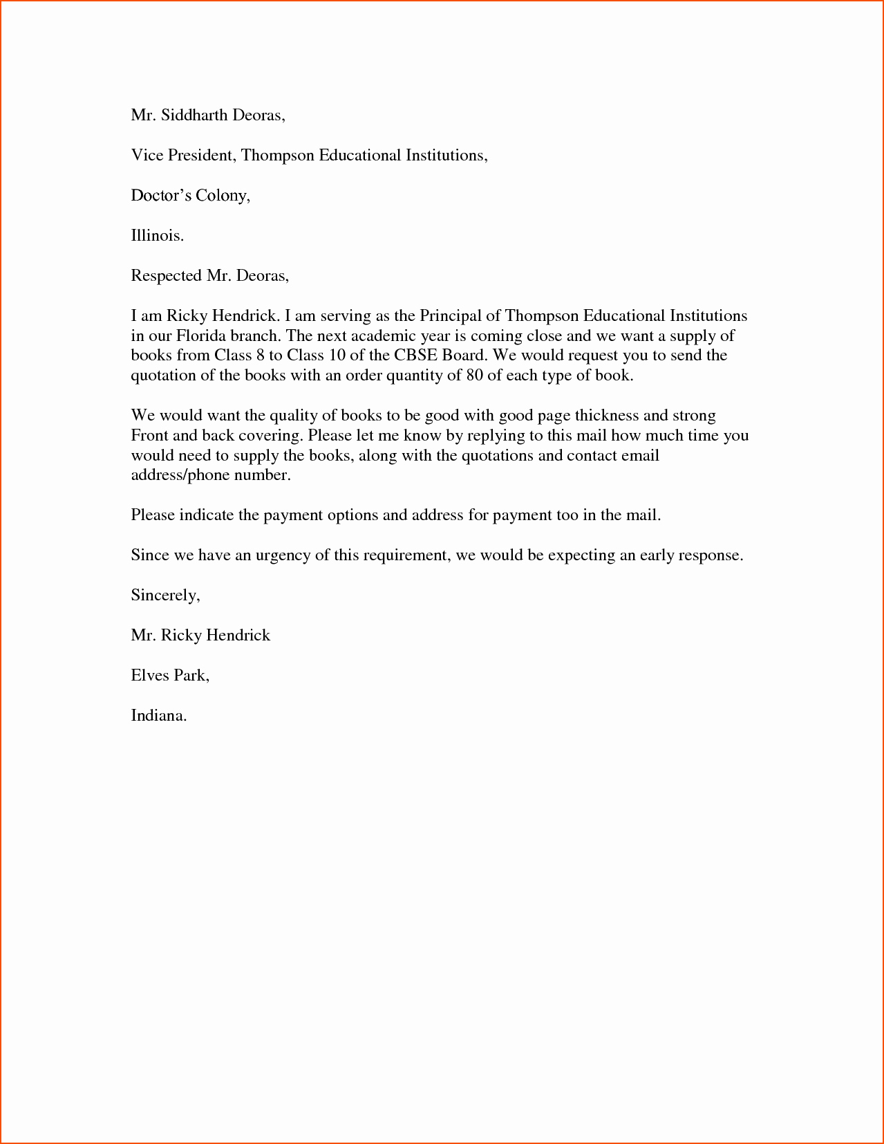 5 word business letter template