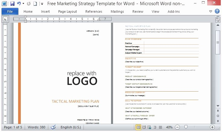 Free Business Templates for Word Luxury Free Marketing Strategy Template for Word