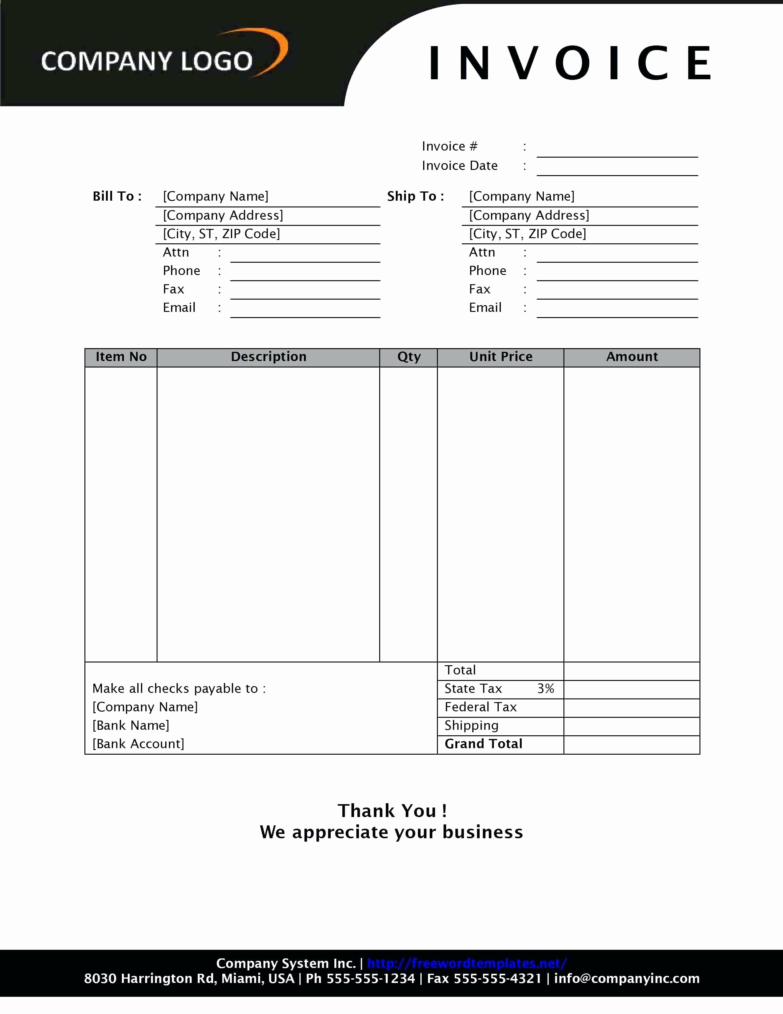 Free Business Templates for Word New Template Business Invoice Template Excel