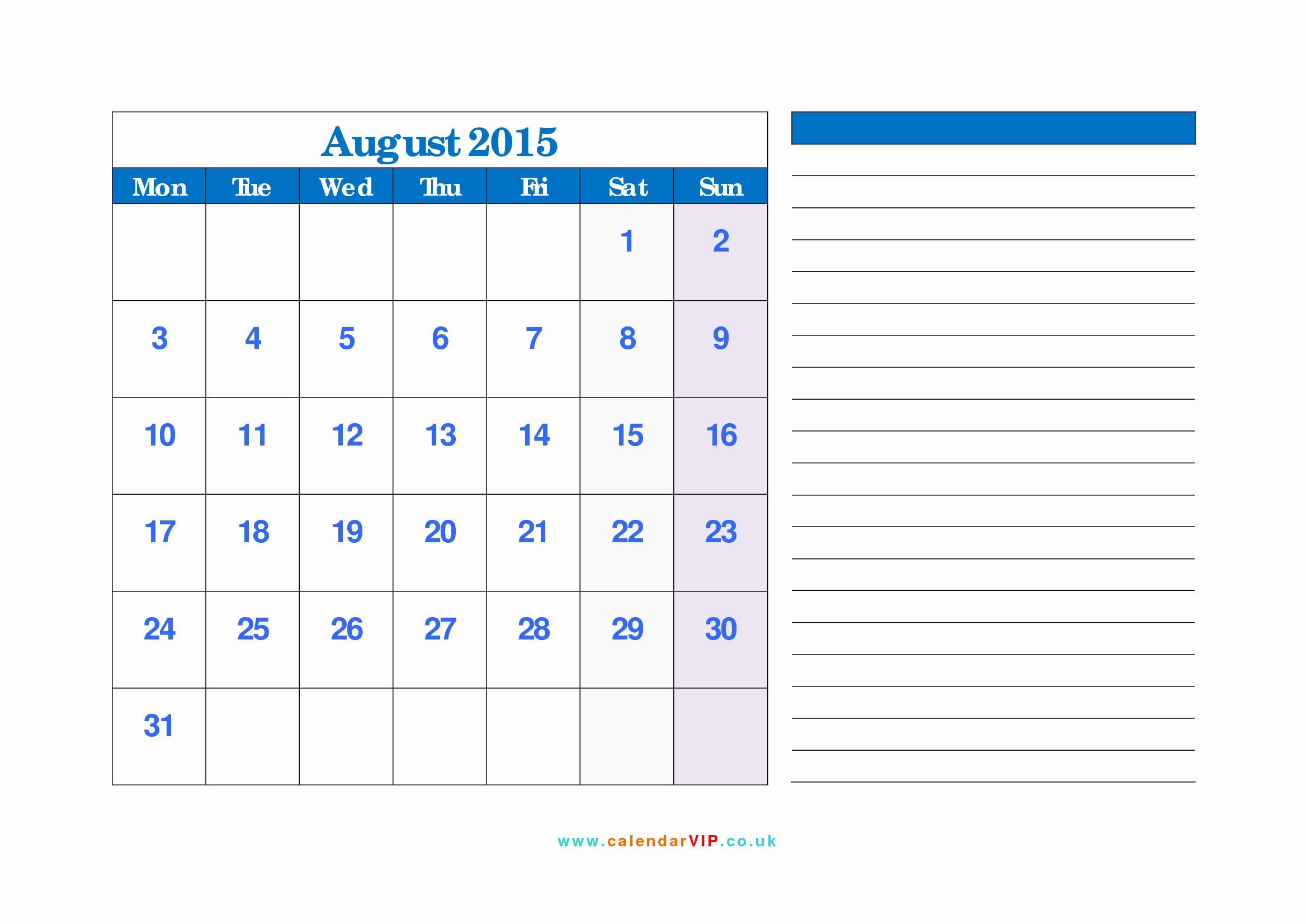 Free Calendar Templates August 2015 Beautiful August 2015 Calendar Free Monthly Calendar Templates for Uk