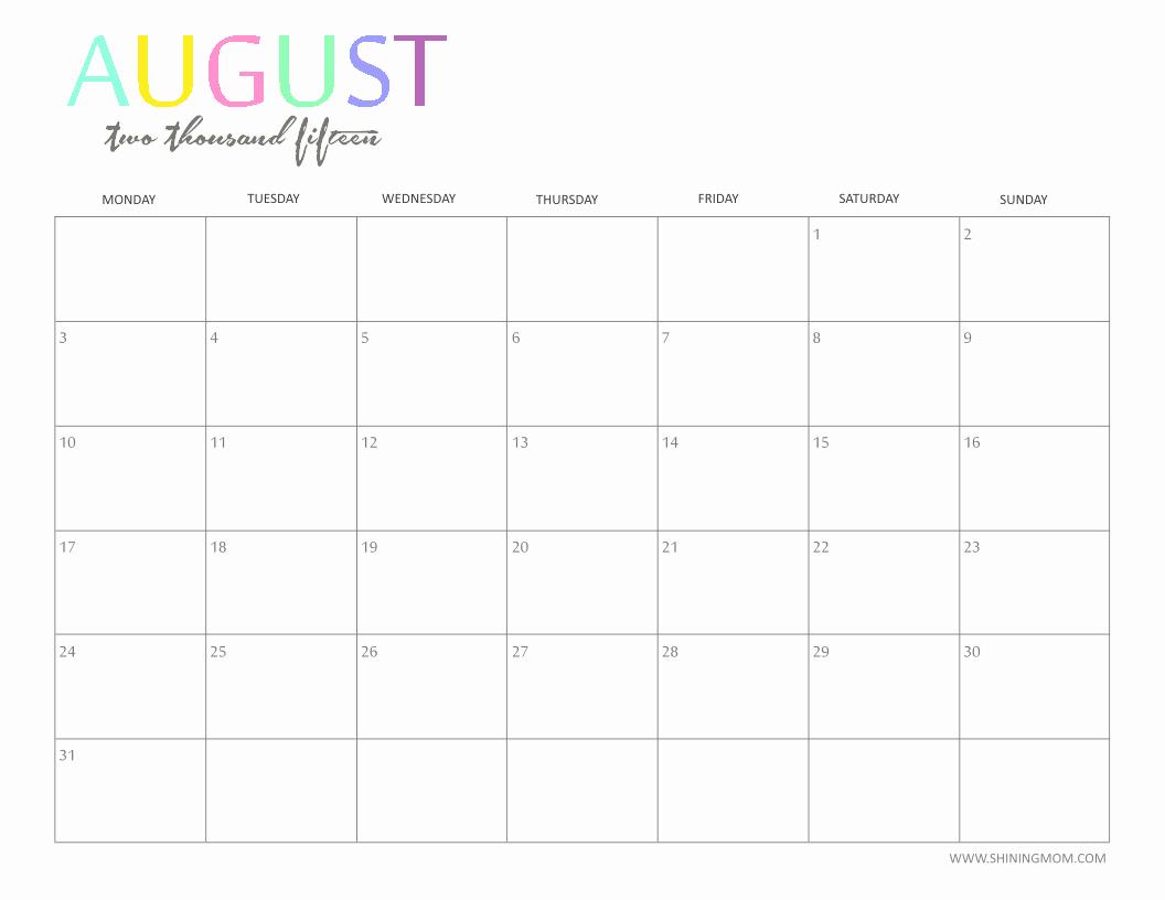 Free Calendar Templates August 2015 Elegant Free Printable Calendar 2018 Free Printable Calendar August