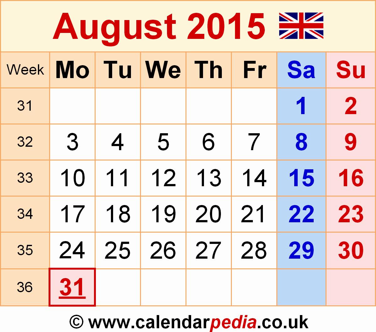 Free Calendar Templates August 2015 Fresh Calendar August 2015 Uk Bank Holidays Excel Pdf Word