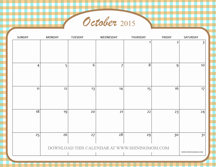 Free Calendar Templates August 2015 Fresh Free Printable October 2015 Calendars