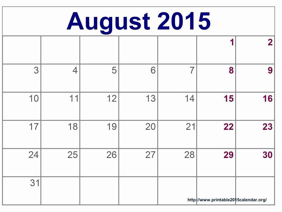 Free Calendar Templates August 2015 Inspirational 8 Best Of Aug 2015 Calendar Printable Printable