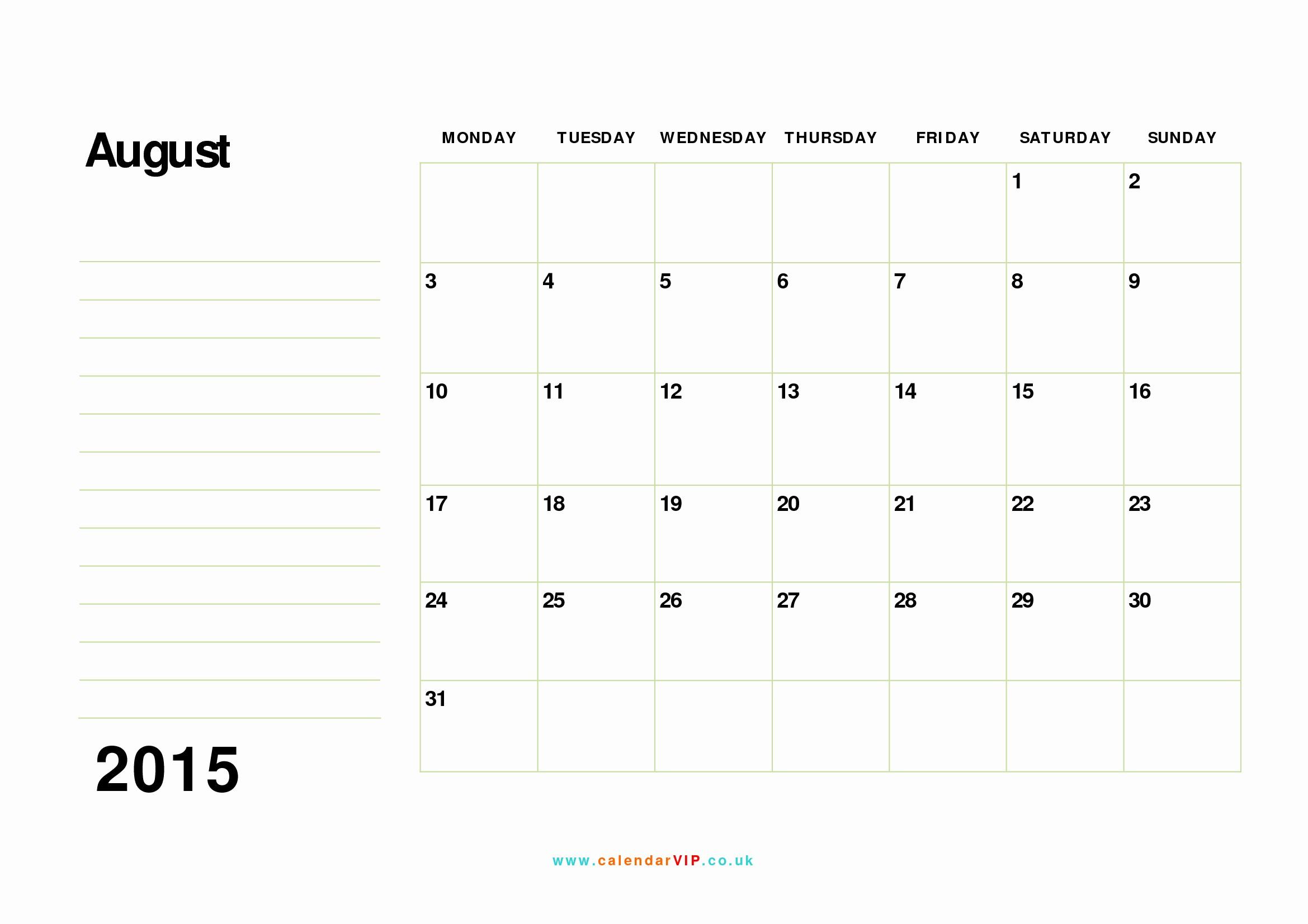 Free Calendar Templates August 2015 Inspirational August 2015 Calendar Free Monthly Calendar Templates for Uk