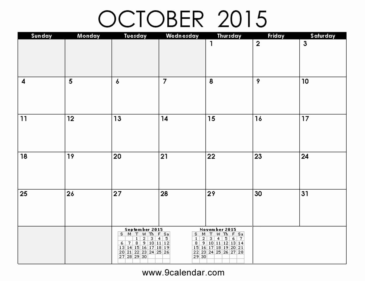 Free Calendar Templates August 2015 Inspirational October 2015 Calendar Printable