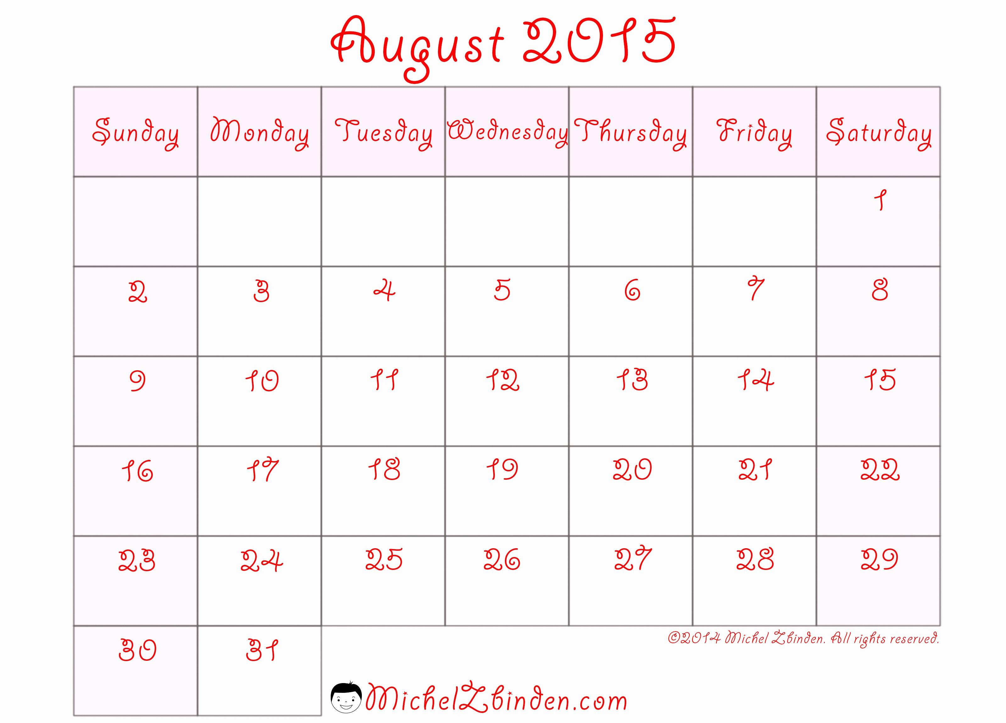 Free Calendar Templates August 2015 Lovely 8 Best Of Printable August 2015 Calendar Week