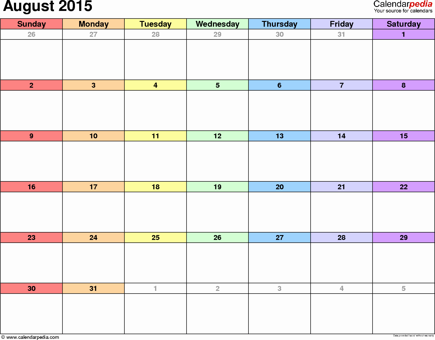 Free Calendar Templates August 2015 Luxury August 2015 Calendars for Word Excel & Pdf