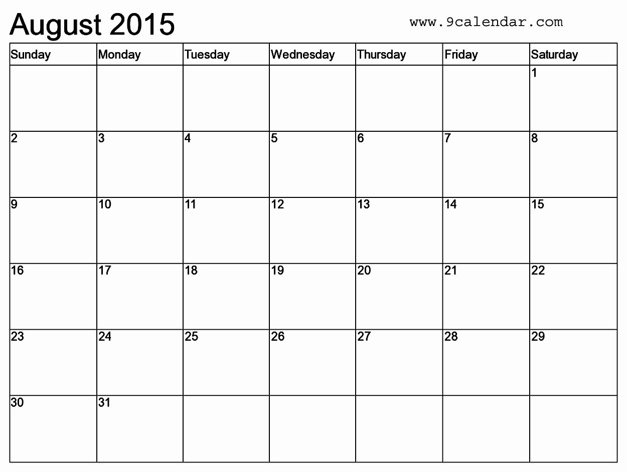 Free Calendar Templates August 2015 Luxury Microsoft Word 2015 Calendar Templates