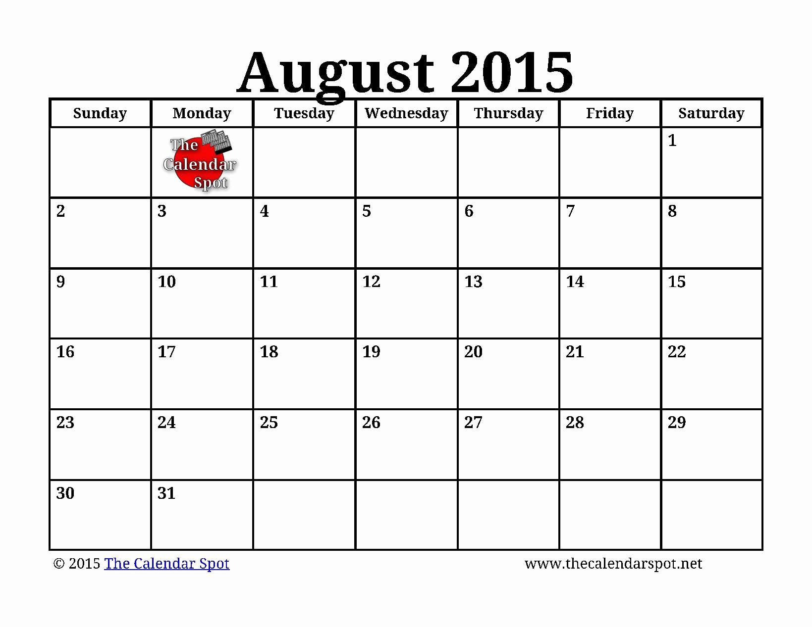 Free Calendar Templates August 2015 New 7 Best Of Printable August Calendar Big Print