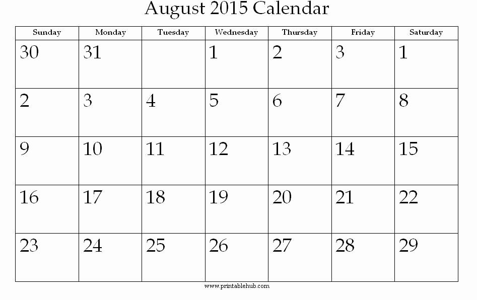 Free Calendar Templates August 2015 New 8 Best Of Aug 2015 Calendar Printable Printable