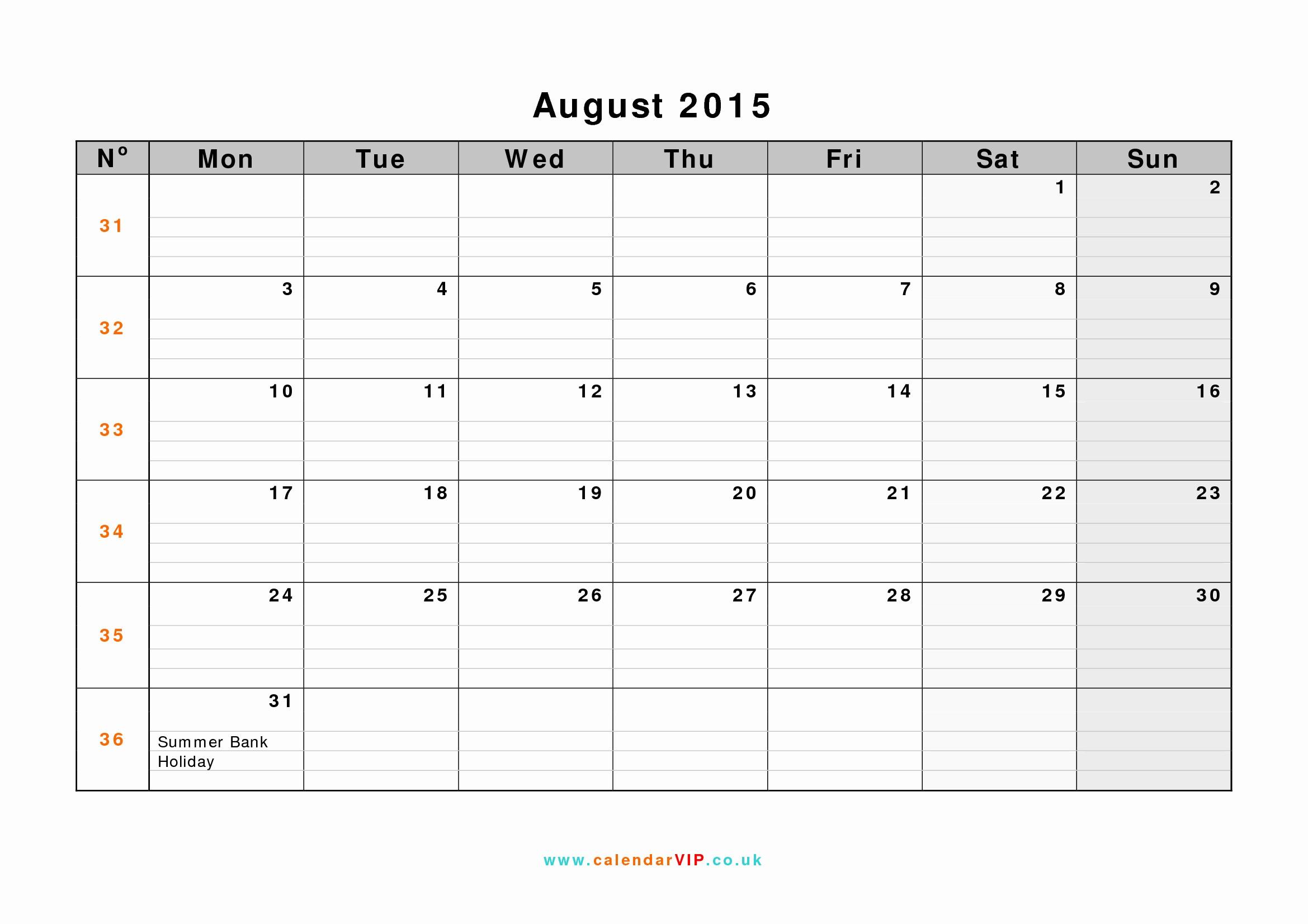 Free Calendar Templates August 2015 New August 2015 Calendar Free Monthly Calendar Templates for Uk
