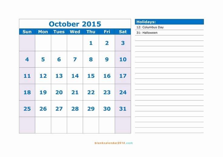 Free Calendar Templates August 2015 New Free Download October 2015 Calendar with Holidays