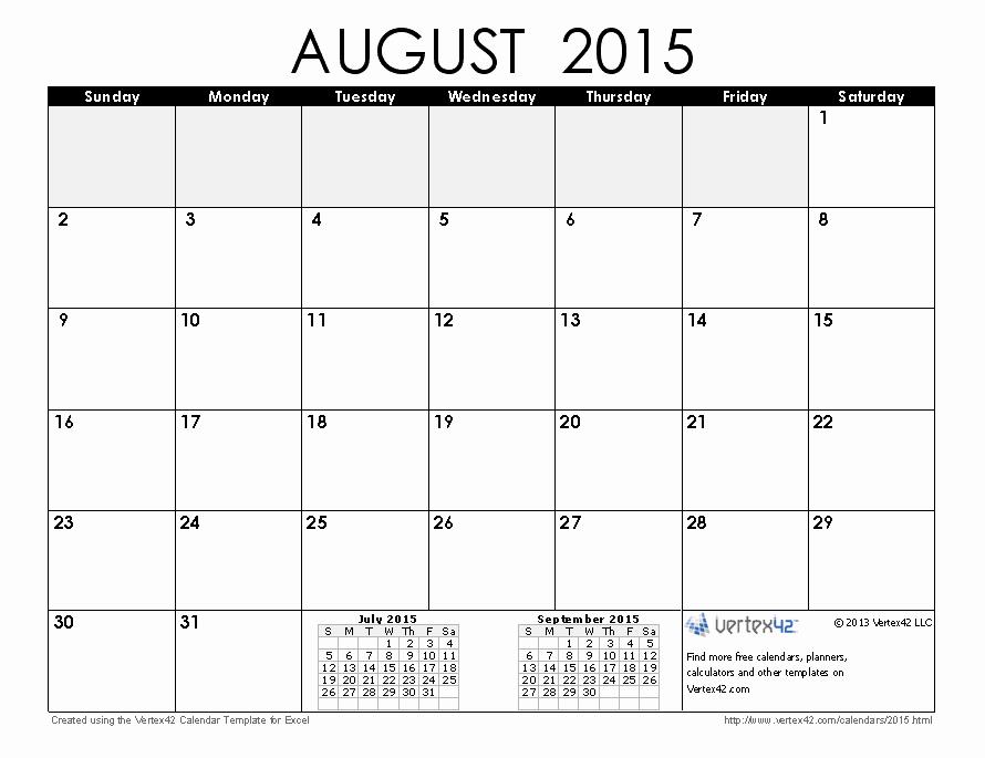 Free Calendar Templates August 2015 Unique 2015 Calendar Templates and