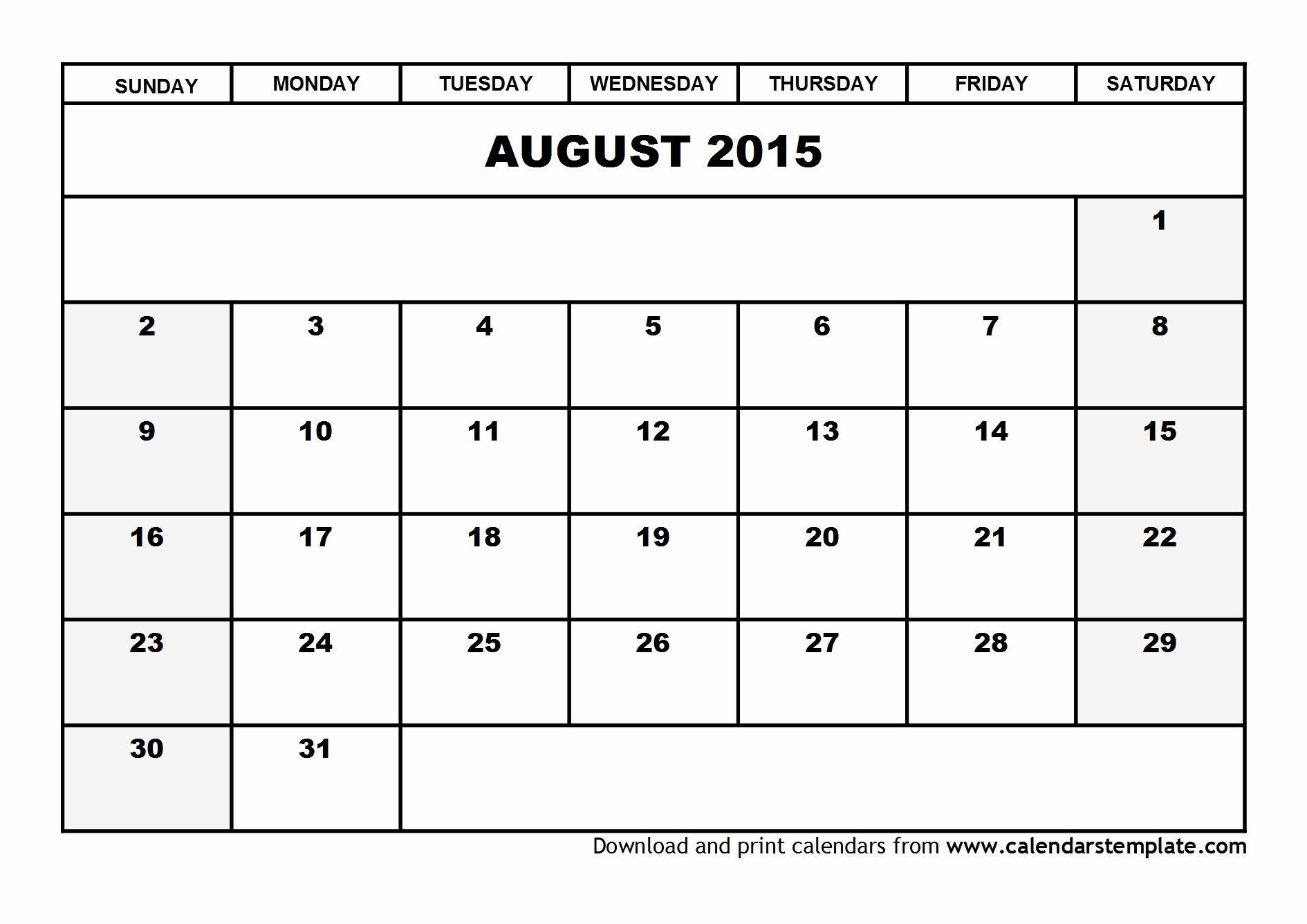 Free Calendar Templates August 2015 Unique August 2015 Calendar Template