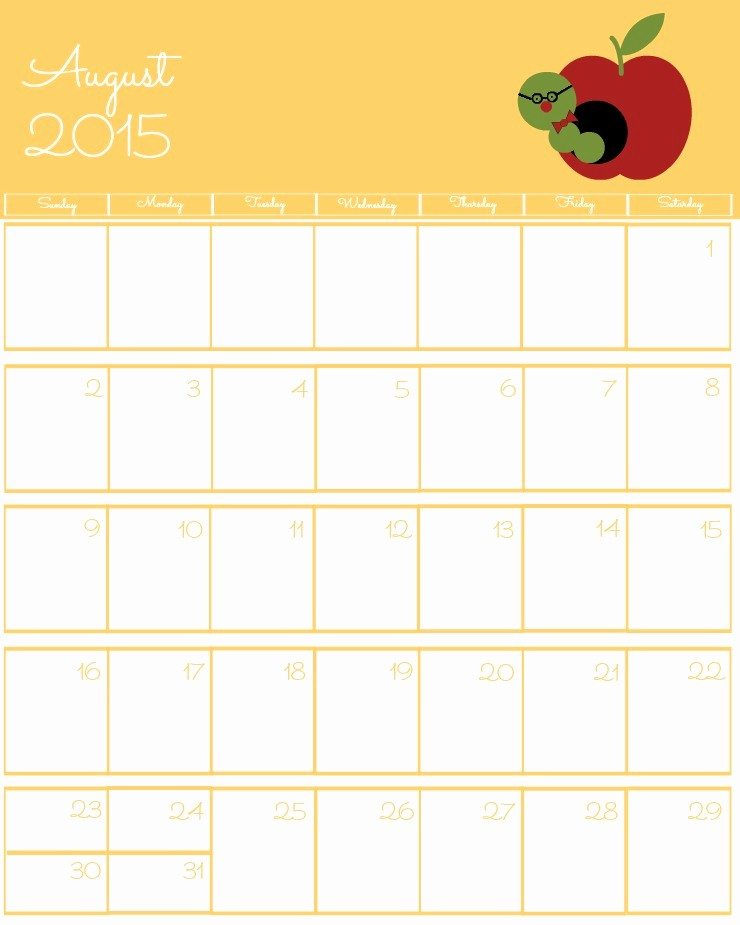 Free Calendar Templates August 2015 Unique Free 2015 Printable Calendar