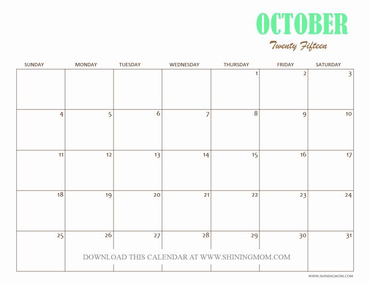 Free Calendar Templates August 2015 Unique Free Printable October 2015 Calendars