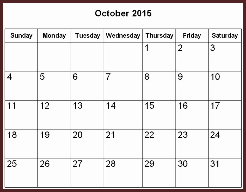 Free Calendar Templates August 2015 Unique October 2015 Calendar Word Template – 2017 Printable Calendar