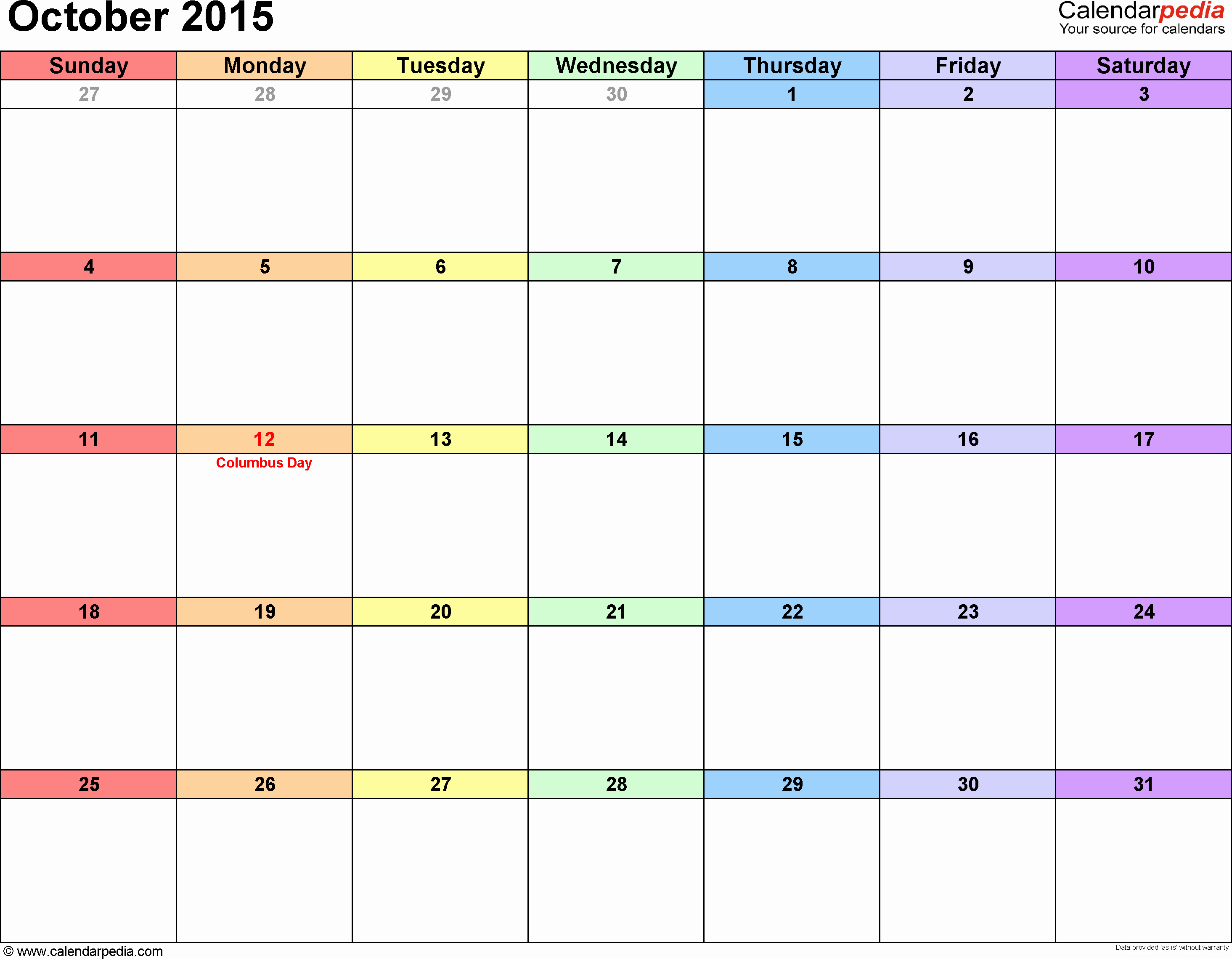 Free Calendar Templates August 2015 Unique October 2015 Calendars for Word Excel & Pdf