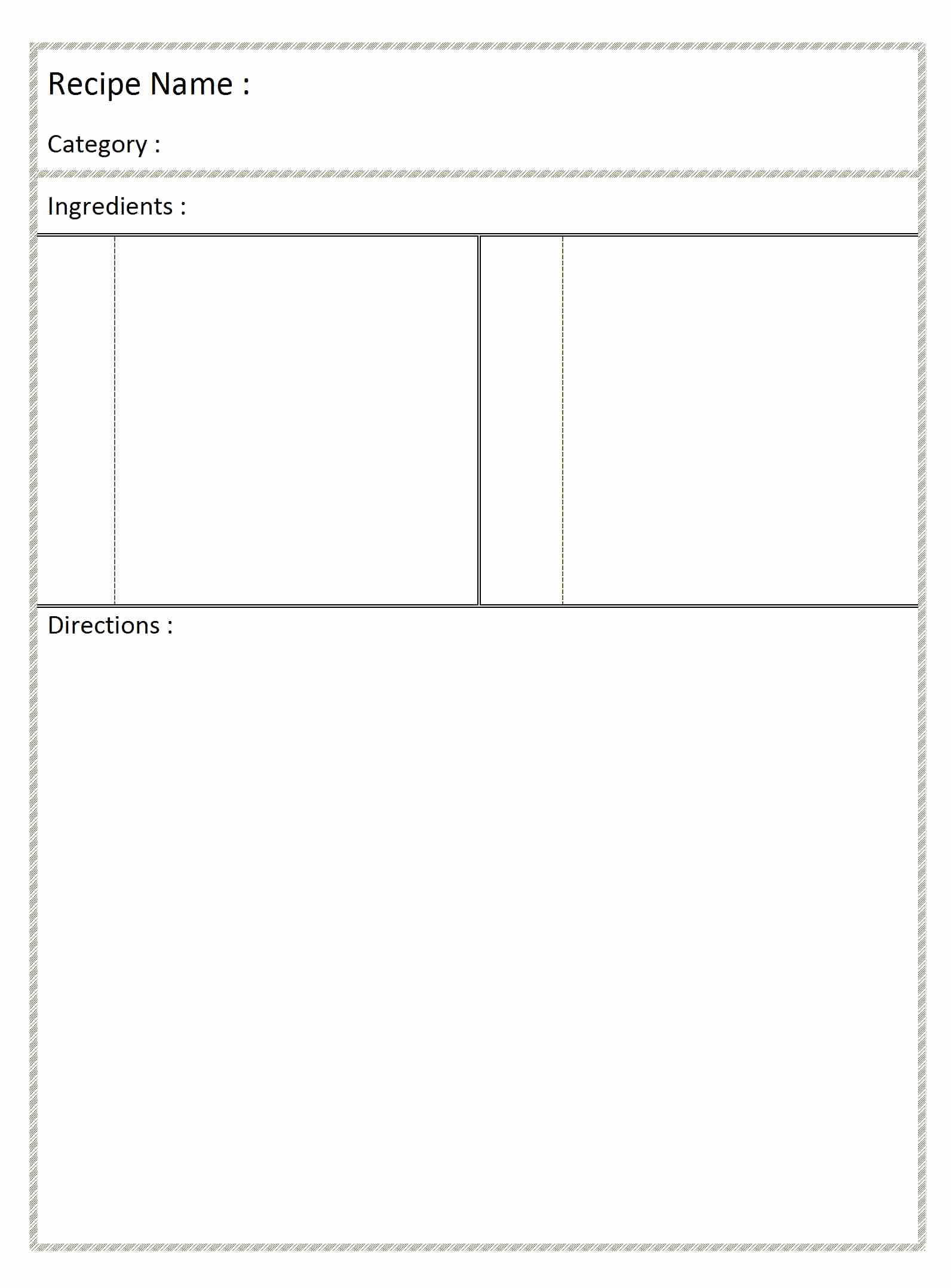 Free Card Templates for Word Elegant Recipe Archives