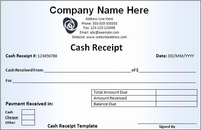 Free Cash Receipt Template Word New Cash Receipt Template