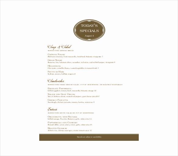 Free Catering Menu Templates Download Beautiful 23 Free Menu Templates Pdf Doc Excel Psd