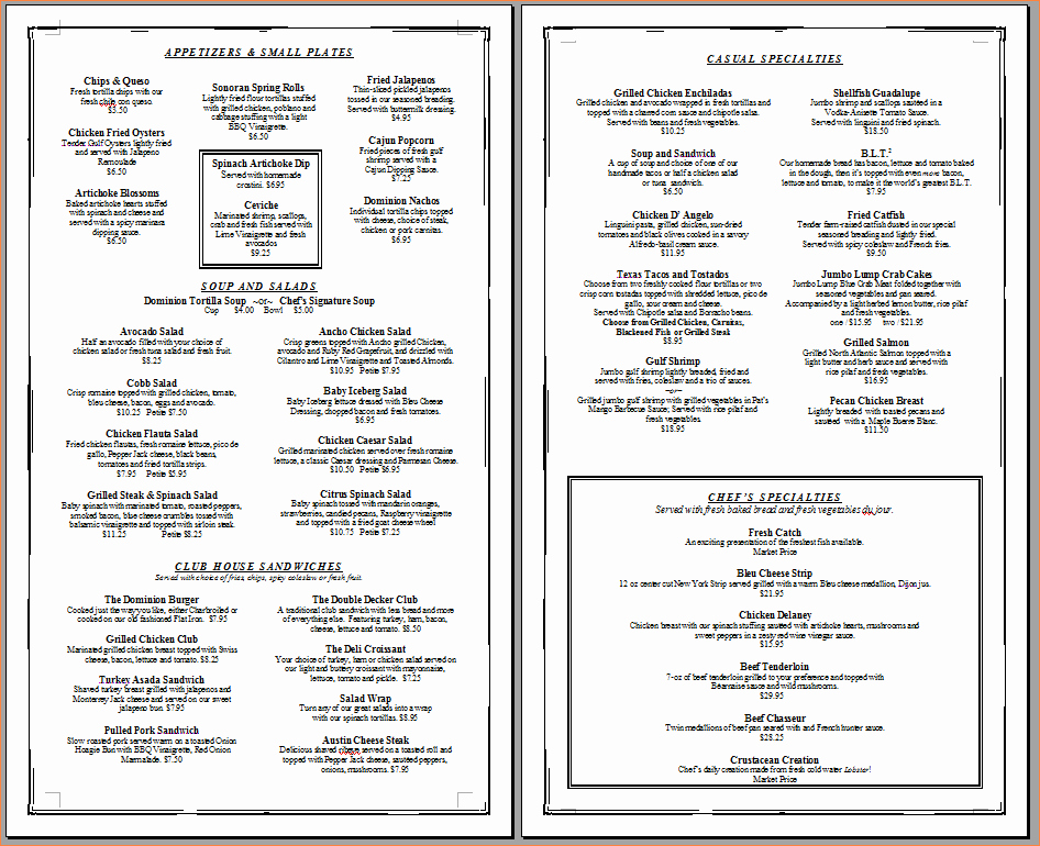 Free Catering Menu Templates Download Fresh 6 Restaurant Menu Templates Free