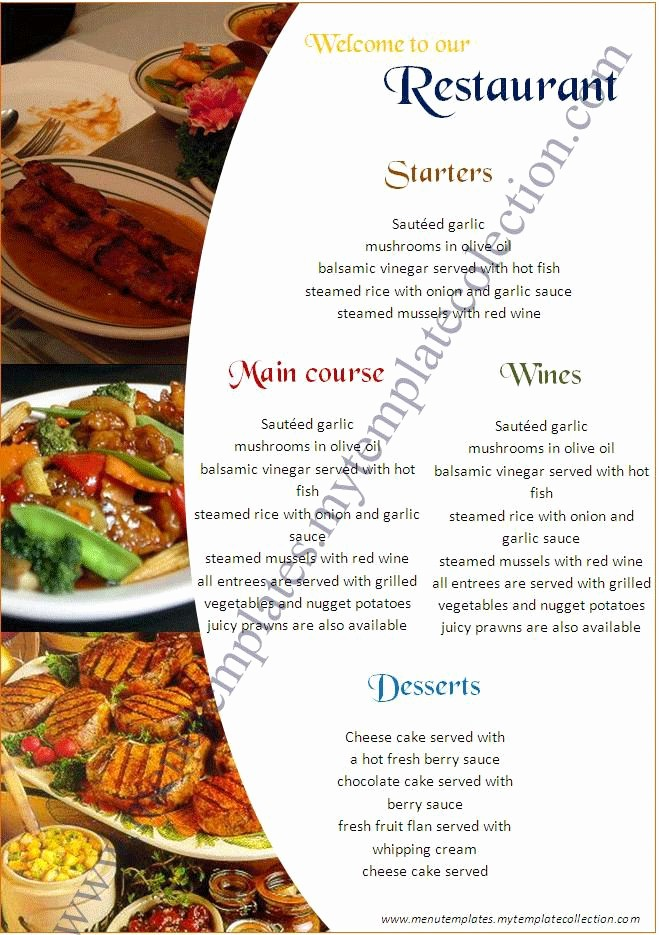 Free Catering Menu Templates Download Luxury Restaurant Menu Templates Free Download