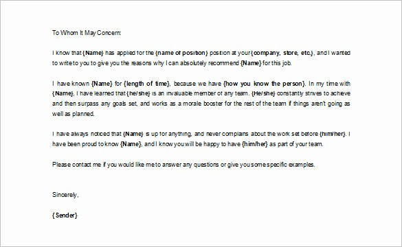 Free Character Reference Letter Template Elegant 0 Character Letters Of Re Mendation Pdf Doc