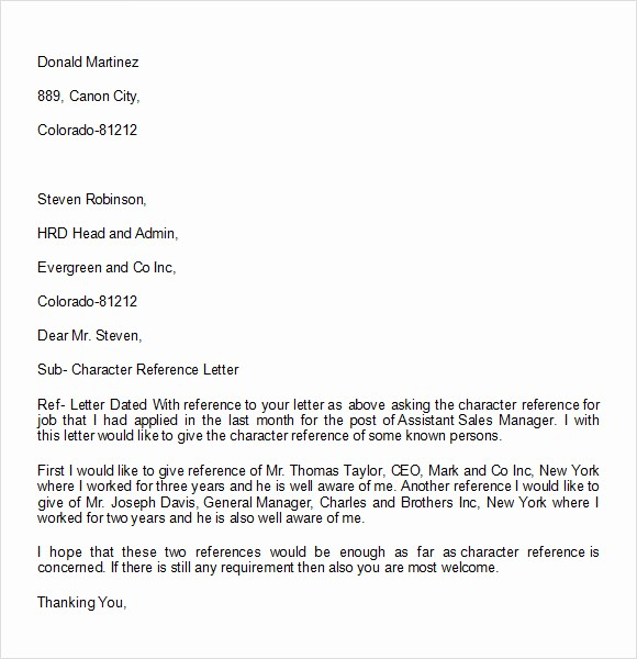 Free Character Reference Letter Template Fresh 10 Character Reference Letter Templates Download for Free