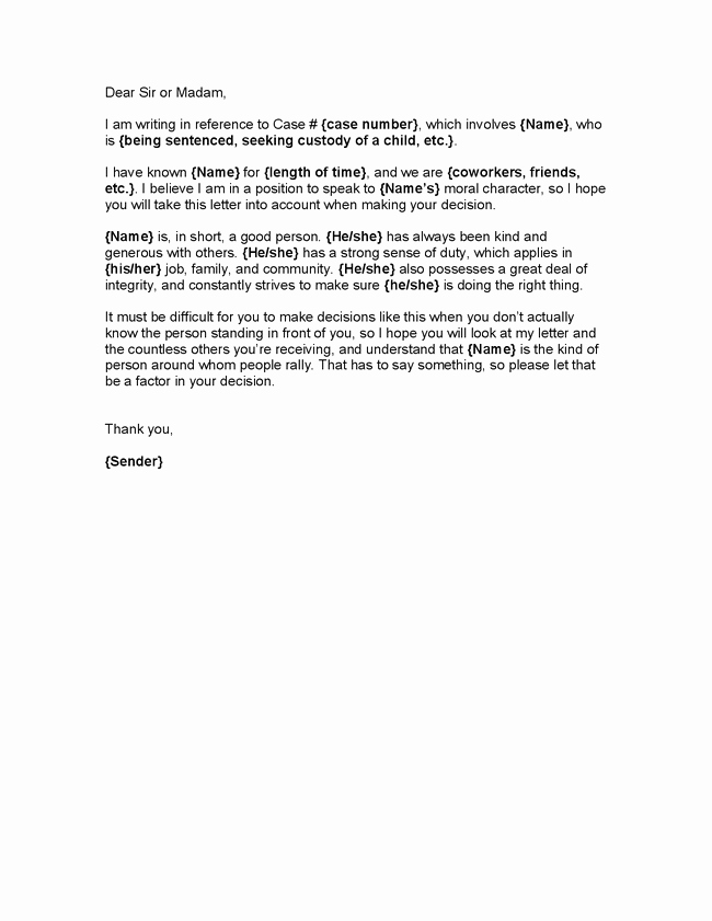 Free Character Reference Letter Template Fresh Character Letter for Judge