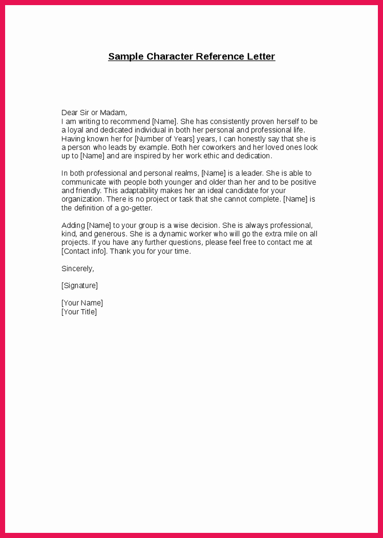Free Character Reference Letter Template Fresh Good Moral Character Letter Reference Letter Good Moral