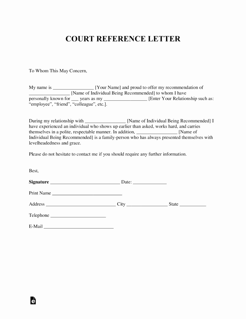 Free Character Reference Letter Template Lovely Free Character Reference Letter for Court Template