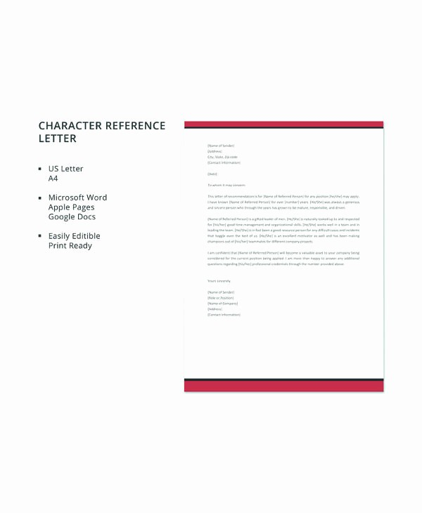 Free Character Reference Letter Template Luxury 12 Sample Character Reference Letters – Pdf Word Pages