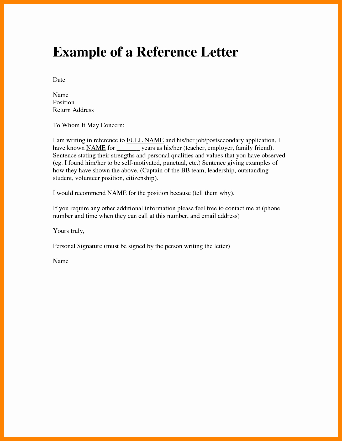 Free Character Reference Letter Template New Character Reference Letter Friend Sample