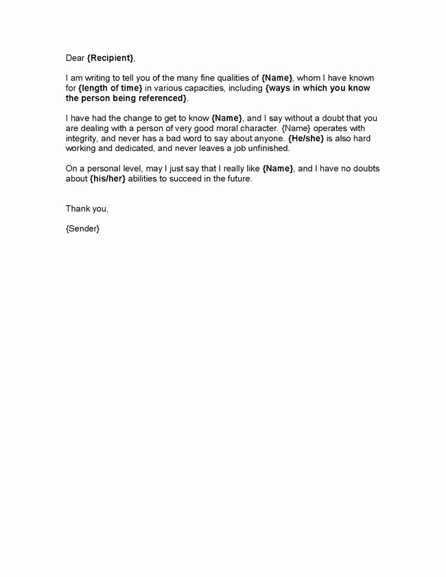 Free Character Reference Letter Template New Letter Of Good Character Template