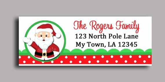 Free Christmas Return Address Labels Awesome Christmas Santa Claus Labels Printable or Printed