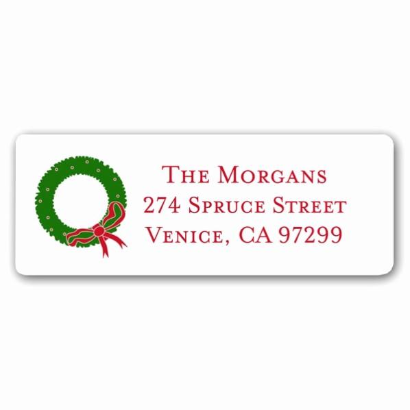 Free Christmas Return Address Labels Lovely Christmas Wreath White Return Address Labels