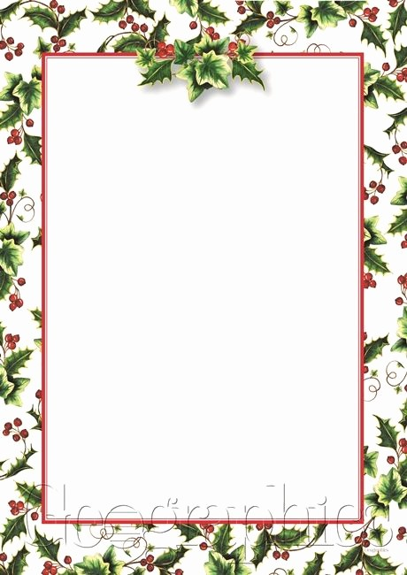 Free Christmas Stationery to Print Beautiful Holly Ivy Christmas Letterhead A4