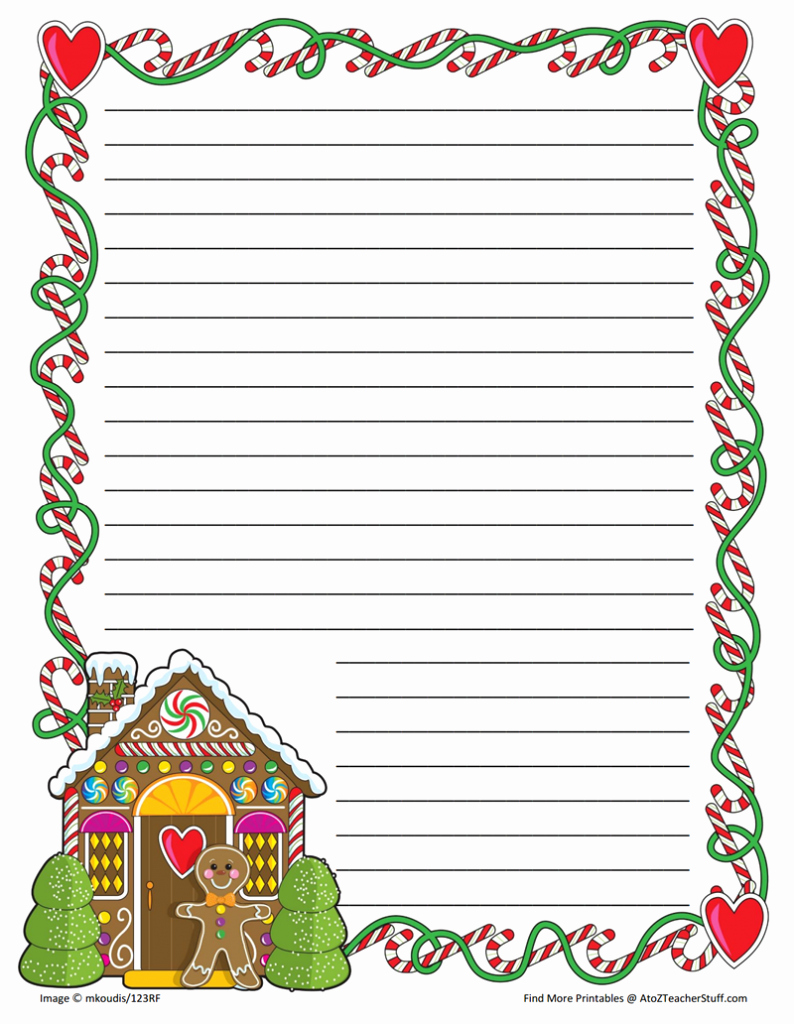 Free Christmas Stationery to Print Lovely Gingerbread Printable Border Paper with and without Lines