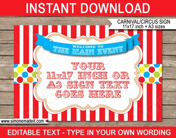 Free Concession Stand Menu Template Awesome Carnival Wel E Sign Carnival Party or Circus Party
