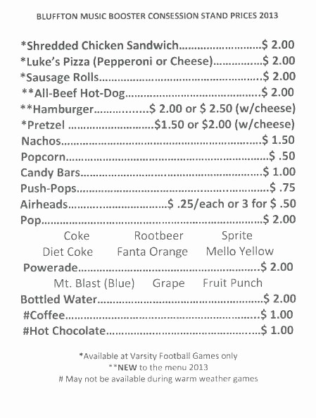 Free Concession Stand Menu Template Best Of Concession Menu Template