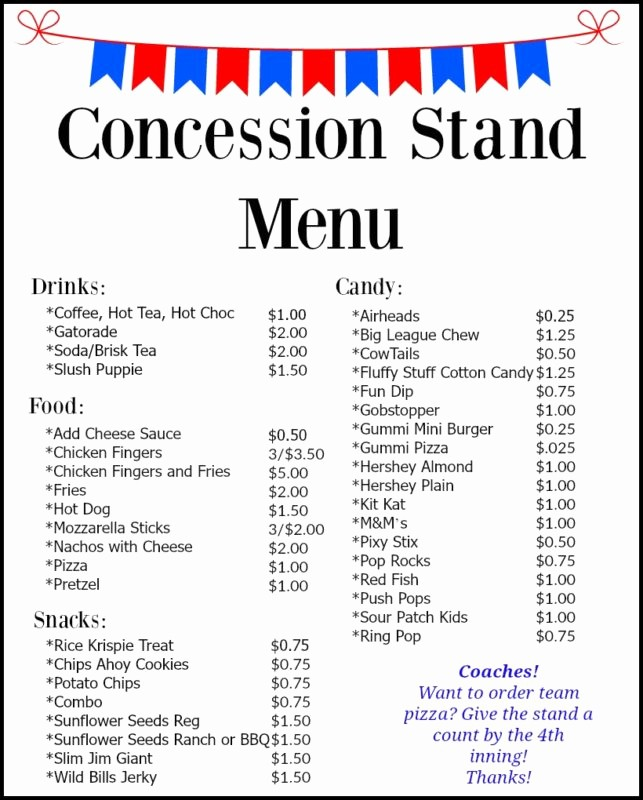 Free Concession Stand Menu Template Inspirational Concession Stand Menu – Bear Creek Baseball