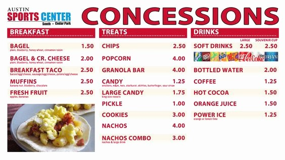 Free Concession Stand Menu Template Lovely Concession Stand Food