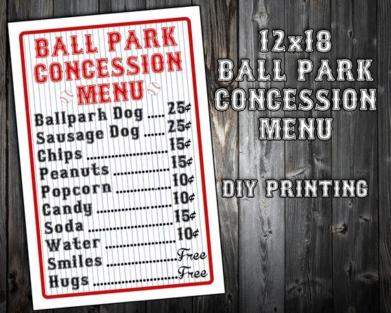 Free Concession Stand Menu Template Lovely Instant Download Baseball themed Birthday Party Menu