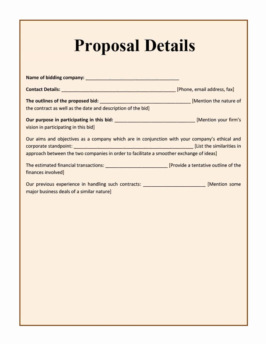 Free Construction Bid Proposal Template Best Of 31 Construction Proposal Template & Construction Bid forms
