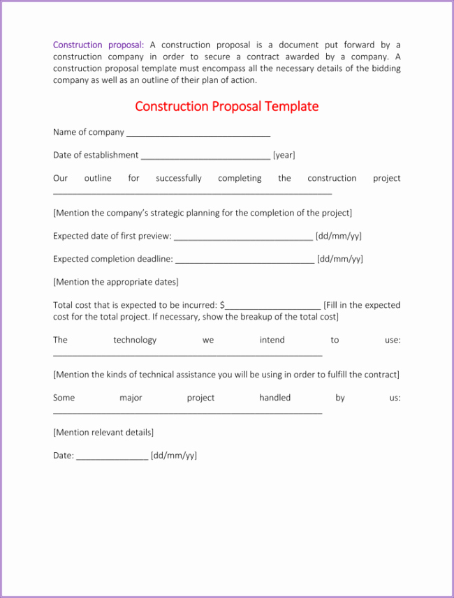 Free Construction Bid Proposal Template Best Of Construction Proposal Template 4 Best Sample