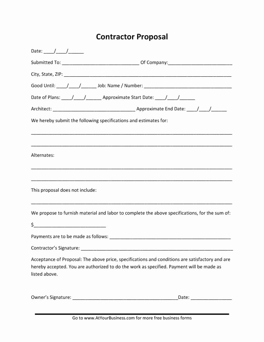 Free Construction Bid Proposal Template Fresh 31 Construction Proposal Template & Construction Bid forms