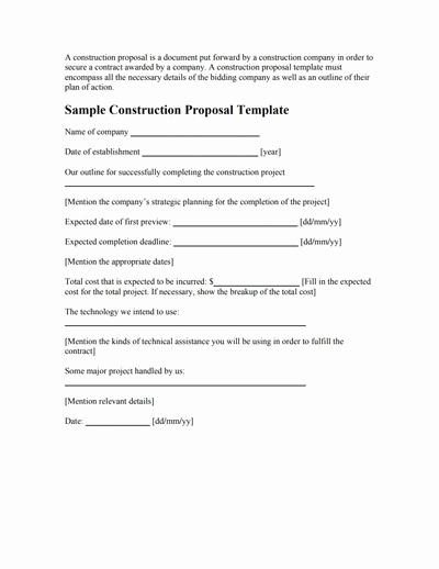 Free Construction Bid Proposal Template Inspirational Construction Proposal Template Free Download Create