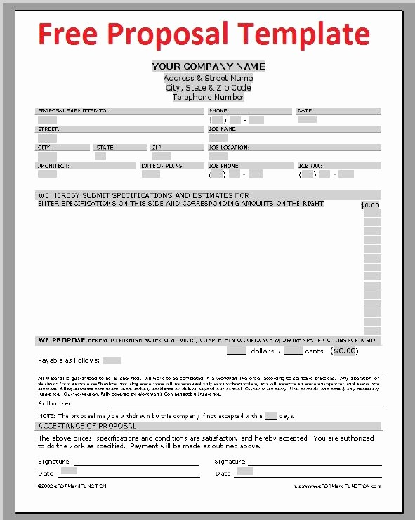 Free Construction Bid Proposal Template Lovely Printable Sample Construction Proposal Template form